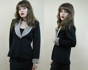 80s 90s Executive Realness Black Grey Collar Reptile Effect Single Button Matching Cuffs Suit Jacket Blazer S / M