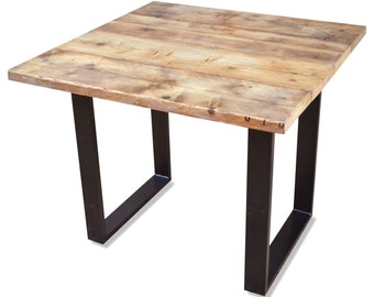 Industrial Reclaimed Dining Table - upcycled wood dining or conference table on Steel Base