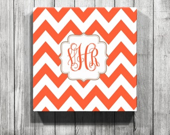 Personalized Chevron Monogrammed Gallery Wrapped Canvas