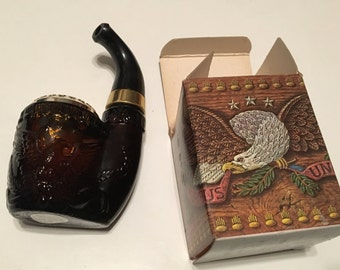 avon american eagle pipe decanter in original box wild country cologne