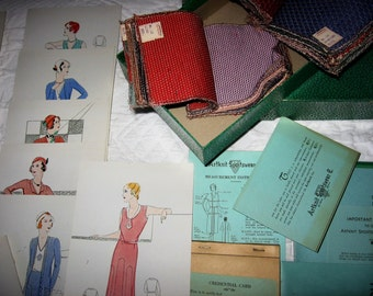 Artknit Salesman's Sample Box 1930's Era Colored Illustrated Moviestar Fashions Cards & Order Literature 45 Fabric Samples in Original Box
