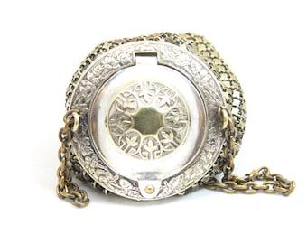 Vintage Mesh Silverplate Chatelaine Mini Purse