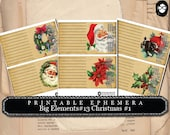 Digital Journal Card - Big Elements # 13 Christmas # 1 - 3 Page Instant Download - clip art christmas, art journal card, ephemera paper pack