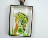 Chameleon pendant, Wearable art, Art necklace, glass pendant , art jewelry, photo necklace, lizard,  whimsical art