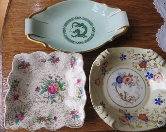 3 x vintage china small dishes