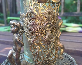 Vintage Filagree cherub Flower vase Brass like Metal Ornate Victorian Style