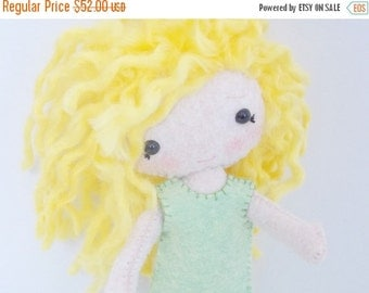 CHRISTMAS In JULY SALE Pocket PIxie - Small Doll - Felt Doll