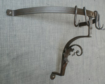 Kitchen pot and pan rack, blacksmith forged.