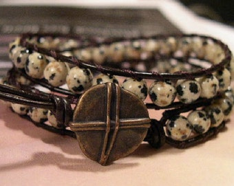 Boho Bracelet, Beaded Leather Wrap Bracelet - 796