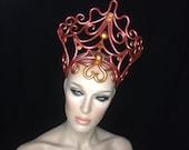 READY TO SHIP Fairy elven ethereal Inspired gold crown headdress headpiece avant garde fantasy fairy synthetic hair