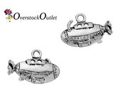 Submarine Charms - 2 charms - Antiqued Silver 3-D
