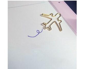 DIY Scrapbook Dairy Retro Bookmark Paper Clip Airplane (Set of 2 pcs)