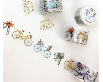 Diary Scrapbook Adhesive Masking Deco Washi Tape - Floral Bicycle  3 cm Width x 8M