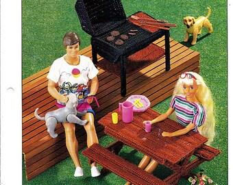 Redwood Picnic Set : Annie's Fashion Doll Plastic Canvas Club Barbie Furniture Pattern 10-P-7