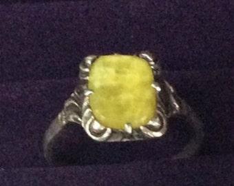 Connemara Marble Ring Sterling Silver Art Deco Vintage Jewelry, SUMMER SALE