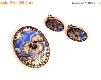 Pansy Flower Vintage Jewelry Set, Brooch with Earrings, Porcelain Germany, Vintage Jewelry, Gift for Her SPRING SALE  Mother's Day