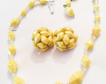 Yellow Bead Jewelry Set, Lucite Necklace with Cluster Earrings, Vintage Jewelry, SALE