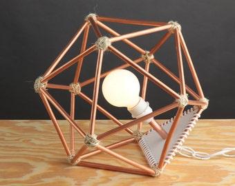 Handmade Modern Copper Geometric Icosahedron Lighting Hanging Pendant or Table Lamp Home Decor