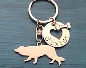 Border Collie Custom Keychain, Herding Dog, Border Collie Jewelry, Personalized Jewelry, Pet Memorial
