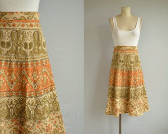 Vintage 70s Ethnic Wrap Skirt / 1970s Indian Cotton Boho Hippie Tribal Floral Print Circle Midi Skirt