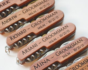 Set of 7  Personalized Multi tool Knives, Groomsmen, Engraved Knives, Wedding, Groomsman, Gift,
