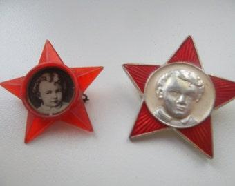 "2 type of soviet pin badge pioneer octobrist school sign ""Red Star with young Lenin"" communism Lenin party propaganda - 100 % original"
