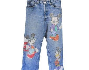 Vintage Mickey Mouse Pants Disney Pants 90s High Waist Jeans with Patches 90s Clothing 90s Clothes High Waste Jeans Button Fly Jeans Women