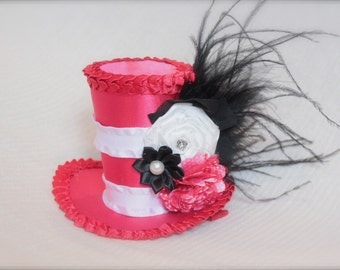 Cat in the Hat Inspired Mini Top Hat Birthday Mini Top Hat - Perfect Halloween Costume or Photo Prop
