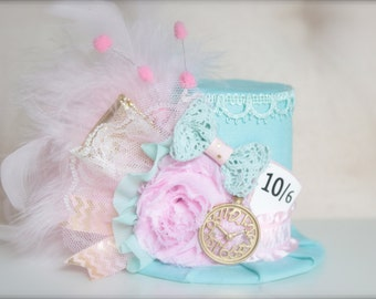Alice in Wonderland Inspired Mad Hatter 10/6 Tea Party - Mint Pink  Ivory and Gold - Mini Top Hat Headband - Perfect Photo Prop