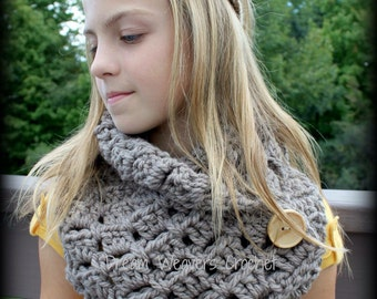 Haven Button Cowl, Button Cowl, Children's Cowl Scarf, Ladies Button Cowl