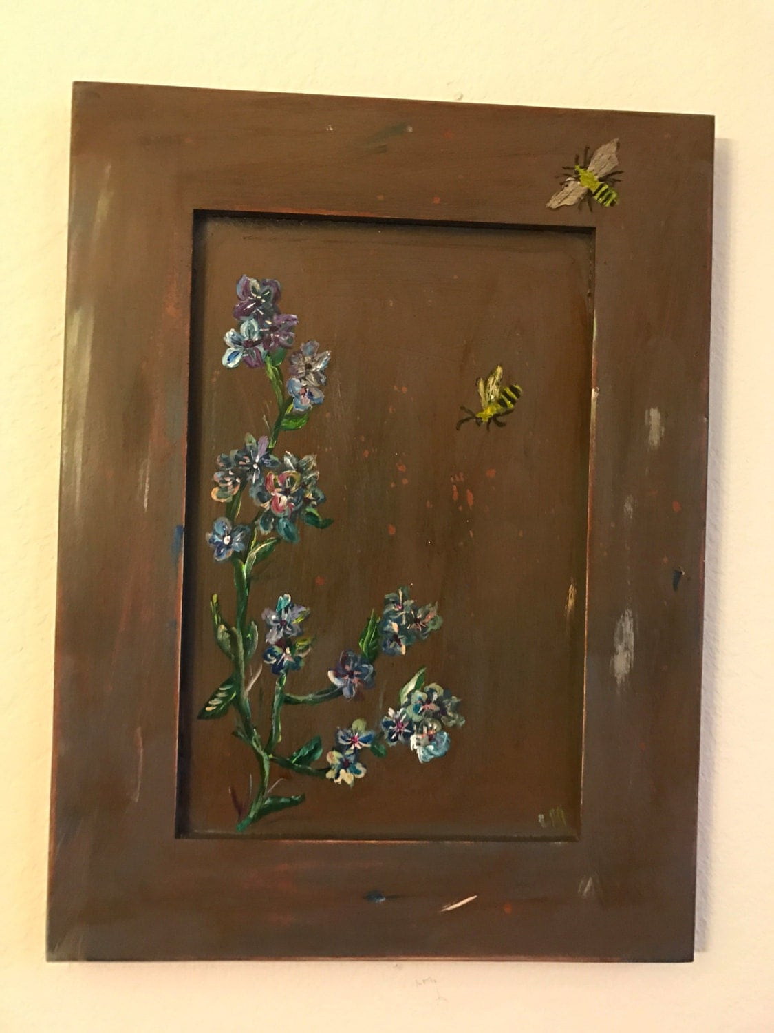 Floral and Bees on distessed wood cabinet
