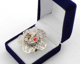 OOAK GORGEOUS RING steampunk art jewelry watch movement nice gift