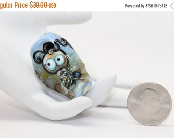 40% OFF SALE Little Annabelle . Lampwork Fairy Bead . Awareness Ribbon. by Lori Davidson