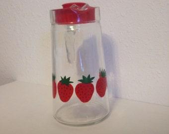 Vintage Glass Pitcher, Covetro Strawberry Jug, Vintage Strawberry, Strawberry Decor, Vintage Glass Jug, Vintage Pitcher, Pitcher with Lid