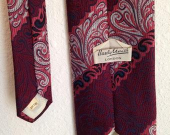 Vintage Necktie, Red Maroon Burgundy Necktie, Hardy Ames Tie, Paisley Tie, Striped Tie