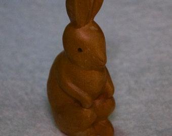 Vintage Hand Carved Wooden Rabbit