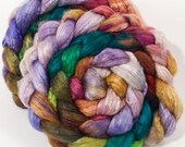 Hand dyed baby camel/ tussah silk top for spinning  -Paper Lanterns - (4.2 oz.) baby camel /silk ( 50/50)