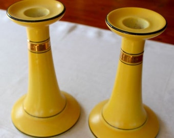 Vintage Candle Holders Candlesticks Ceramic China Bright Yellow Gold Leaf Black Tall Art Deco