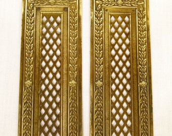 Pair of Rococo Brass Finger Plates, Finger Plate, Brass Push Plates, Door Furniture, Door Plate, French Finger Plate, French Door Plate 4191
