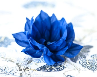 71411_Navy blue flower, Floral barretes, Something blue, Flowers berrette, Rustic blue wedding, Bridal hair accessory, For bridesmaid.