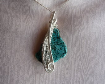 Wire wrapped Turquoise coloured Howlite Pendant