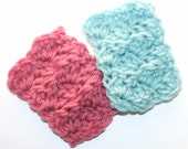 1:12 Scale Miniatures Mini Doll Blanket 2 pc Set Ready to Ship Afghan Reversible Lt Teal Blue / Rose Textured Handmade by CzechBeaderyShop