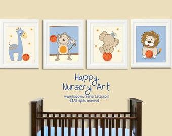 Boy Sports Nursery Art Basketball Nursery Art Sports Prints set of 4 prints with animals Basketball nursery decor Boys nursery sports design