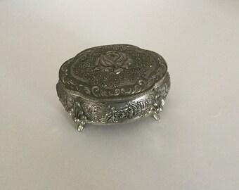 Vintage Trinket Box Japan Ring Box Siver Tone Metal