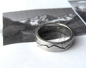 CUSTOM MOUNTAIN Ring, 6mm band, Mountain Wedding, Handmade from recycled Silver, Gold, Palladium & Platinum