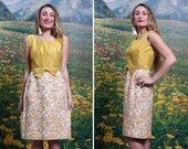 60s MUSTARD Gold Bow SILK Cream Embroidered Abstract Skirt Sleeveless Cocktail DRESS (small)