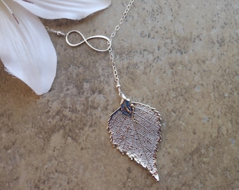 Real Leaf Necklace, Infinity Y Necklace, Sterling Silver, Gift for Best Friend, Lariat, Birch Leaf, Gift for Mom,Long Necklace