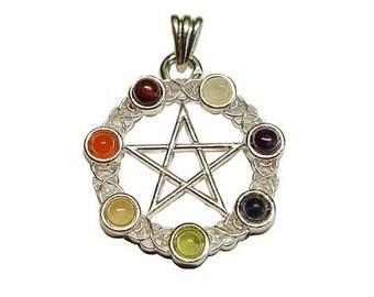 7 Chakra Pentagram Pendant - Pewter, Chakra stones, Pentacle, Chakra jewelry, Wiccan pagan, Pentagram star, Seven chakra