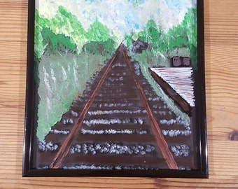 Hand painted Countryside train tracks on glass