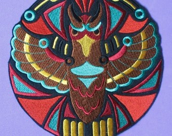 Large 7 Inch  Embroidered Thunderbird of Pacific Northwest Native American Culture, Biker Patch, Indian Patch, Turquoise and Gold